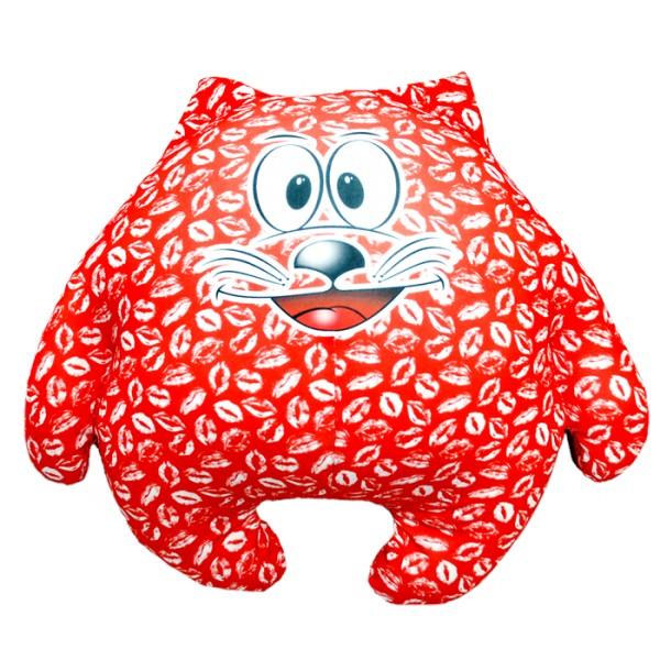 Красная подушка-игрушка Зацелованный котик