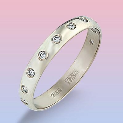 Обручальное кольцо из белого золота с 11 бр.