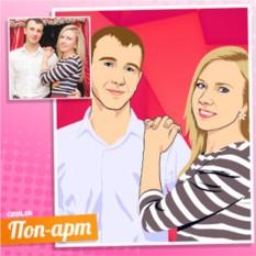 Портрет пары по фото в стиле Поп-арт