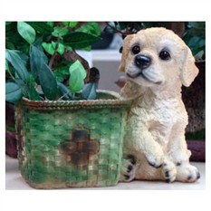 Кашпо «Щенок у квадратной корзины»