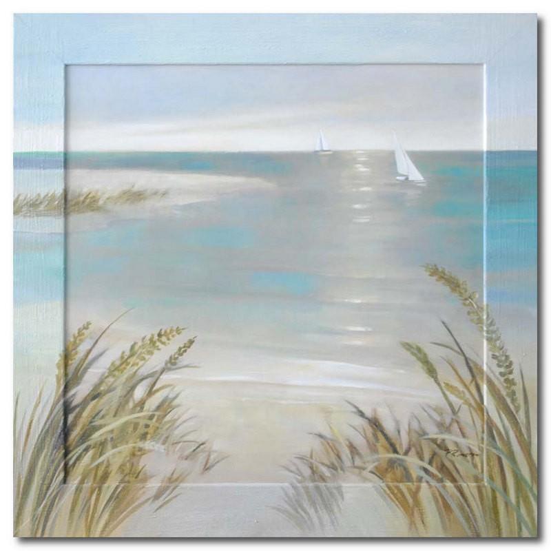 Картина Море и пляж, (репродукция с подрисовкой на раме)