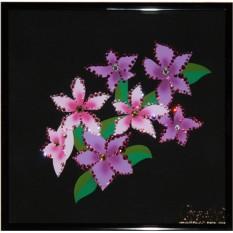 Картина с кристаллами Swarovski Розовые незабудки