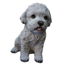Декоративная садовая фигура Белый щенок болонки