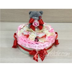 Декорированная коробка с печеньем Розовый торт