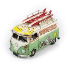 Ретро-модель Бело-зеленый автобус с фоторамкой и копилкой