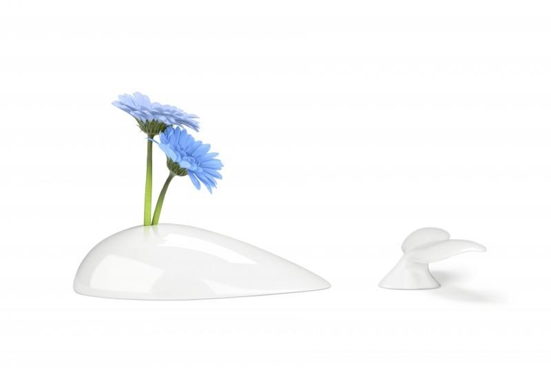 Дизайнерская ваза в виде кита Mobi, белая