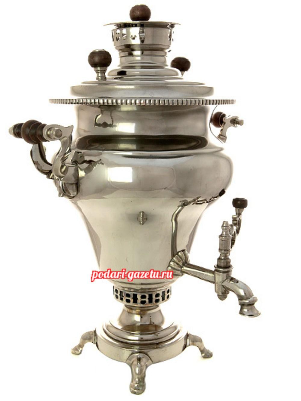 Угольный самовар (жаровой, дровяной) (5 литров) груша никелированный