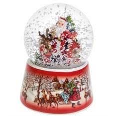 Музыкальный шар со снегом Дед Мороз с малышами у елки