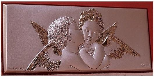 Декоративное посеребренное панно Ангелочки
