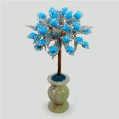 Дерево семьи из бирюзы в вазочке из оникса