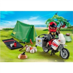 Конструктор Playmobil Summer Fun Мотоциклист и палатка