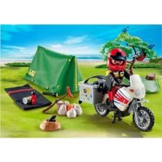 Конструктор Playmobil Summer Fun Мотоциклист и палатка