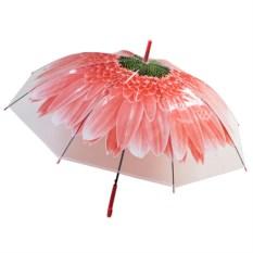Женский зонт-купол Цветок красного цвета