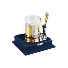 Подарочный набор стакан с подстаканником и ложкой