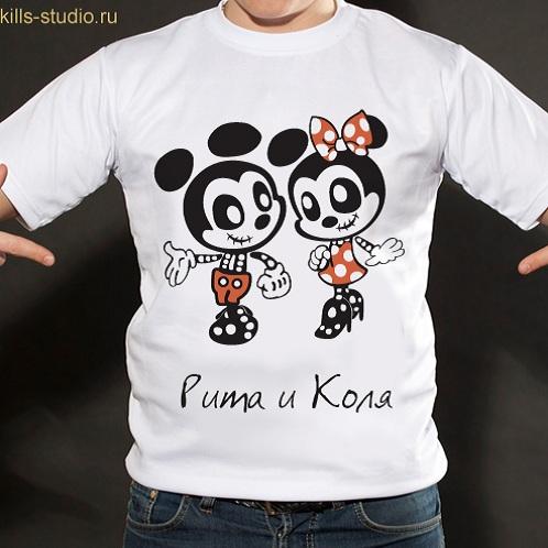 Именная футболка Микки и Мини