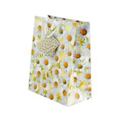 Бумажный ламинированный подарочный пакет с ромашками
