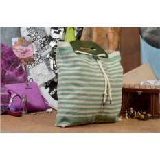 Текстильная бежево-зеленая сумка QZ