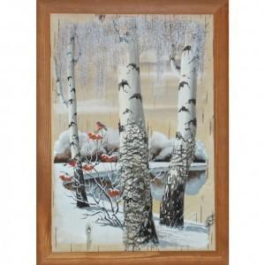 Объёмная картина на бересте Снегири