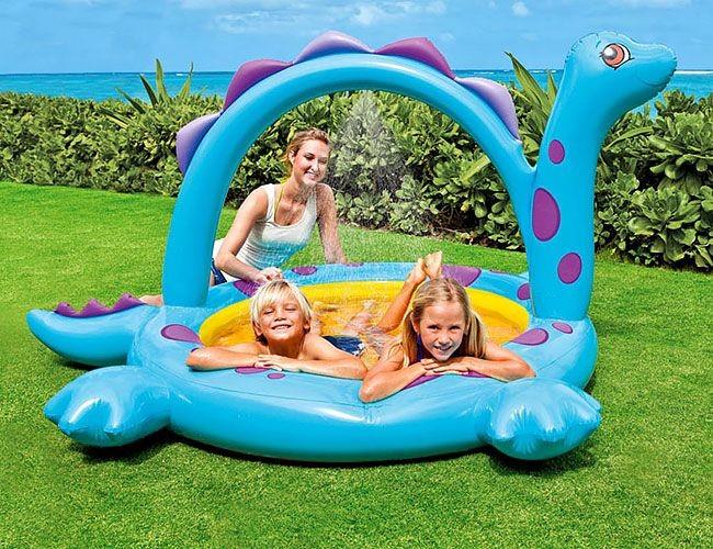 Надувной бассейн с фонтанчиком Дино