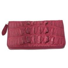 Бордовый женский кошелек из кожи крокодила