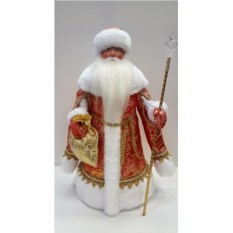 Игрушка Дед Мороз в золотисто-красной шубе