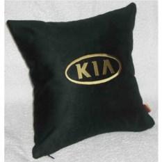 Черная подушка с золотой вышивкой Kia