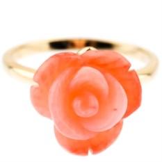 Позолоченное кольцо с кораллом Роза