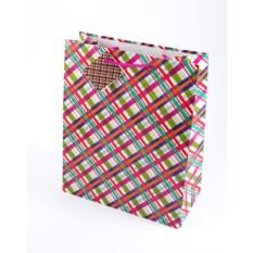 Бумажный подарочный пакет в клетку