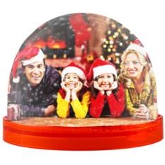 Красный магнит с вашим фото «Падающий снег»
