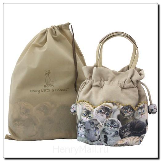 Стильная авторская сумка женская «Кошки Генри» беж
