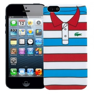 Чехол для iPhone 5 Red with blue stripes, серия Sports shirt