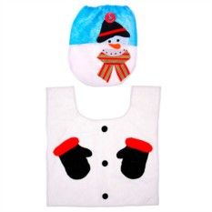 Набор чехол на крышку унитаза и коврик «Снеговик»