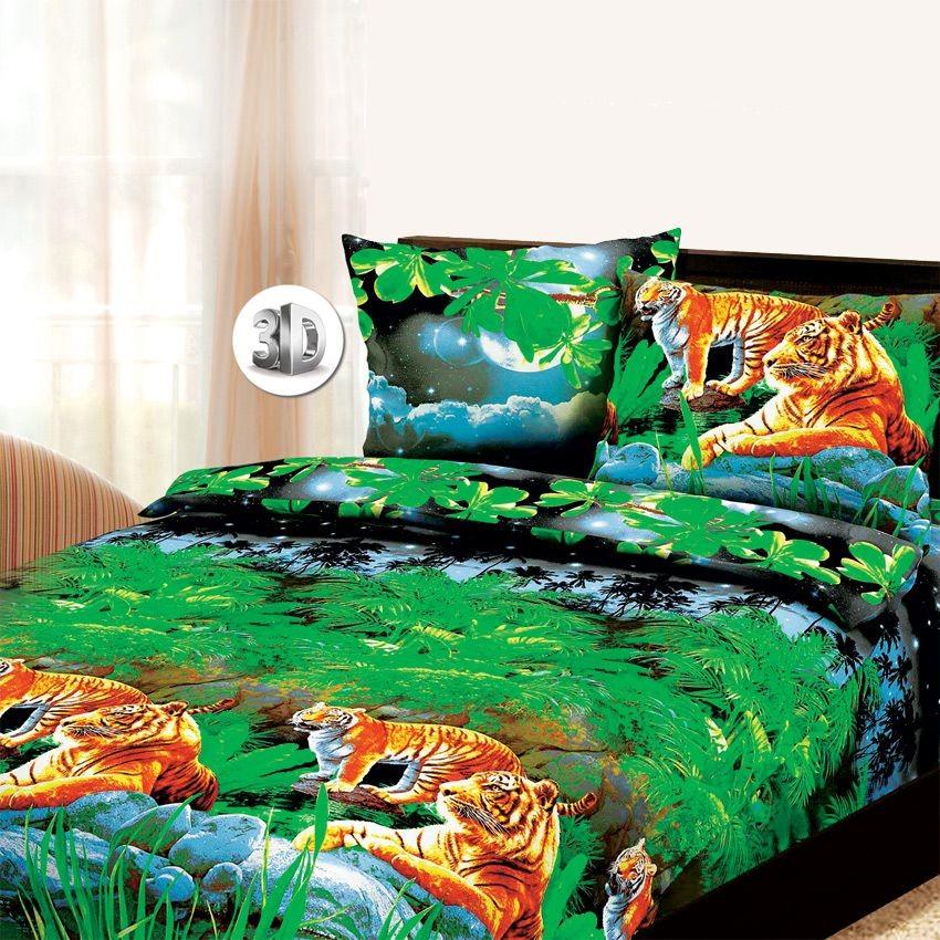 Комплект постельного белья Тигры 3D (1,5-спальный)