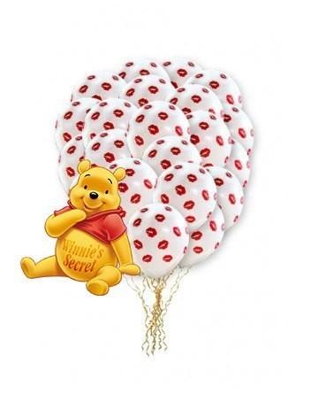 Набор 50 белых воздушных шаров с поцелуйчиками
