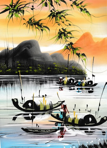 Картина на шелке Азиатские мотивы
