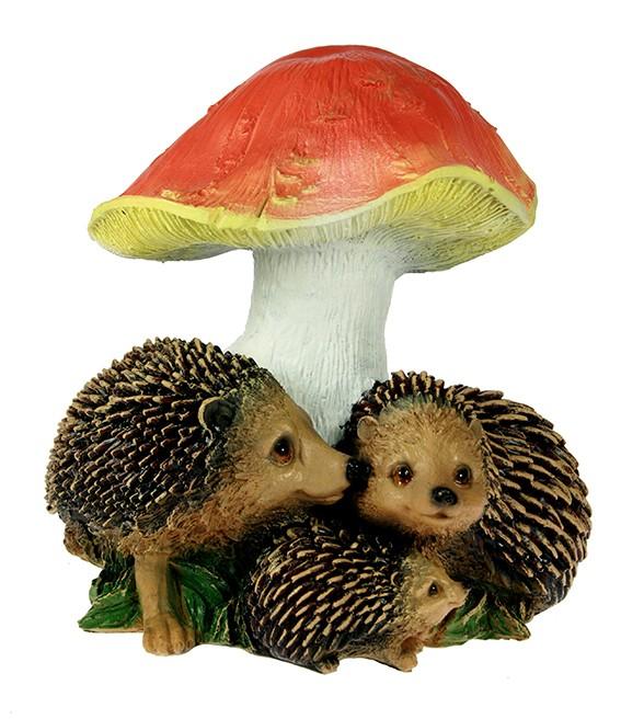 Ландшафтная фигурка Три ежика и гриб