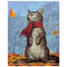 Картина-раскраска по номерам на холсте В шарфике