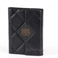 Черный кожаный стеганый ежедневник