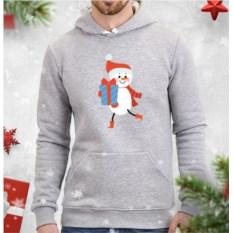 Серая мужская толстовка Снеговик с подарком