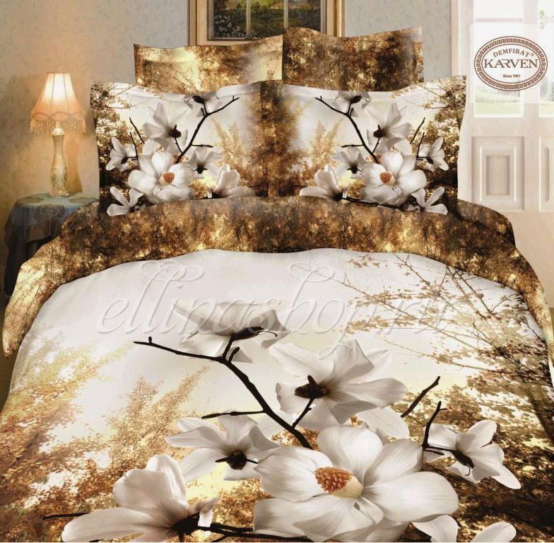 Серо-коричневый комплект постельного белья Karven