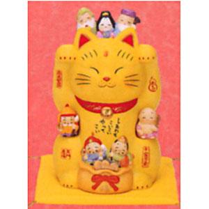 Композиция «Жёлтая кошка с 7 богами счастья»