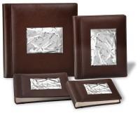 Кожаный фотоальбом «Серебряная волна» с серебром Valenti