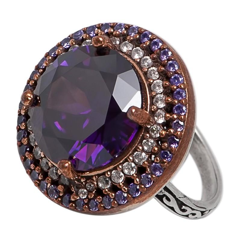 Перстень с цирконами и аметистами
