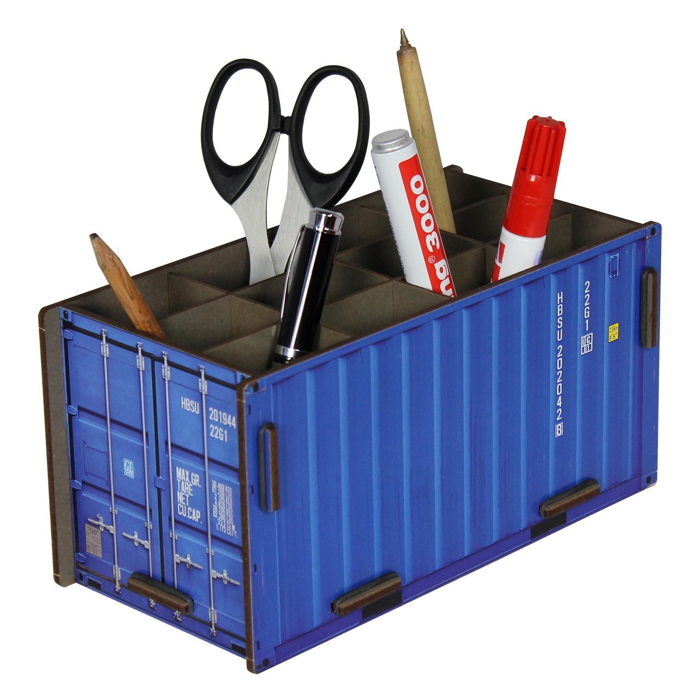 Голубой контейнер для карандашей