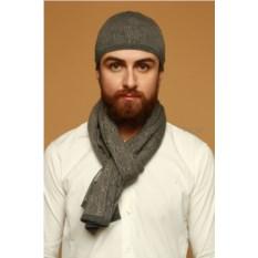 Серо-зеленый мужской комплект из шапки и шарфа Enrico Coveri