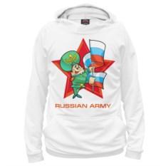 Белое худи Армия России. Офицер с флагом