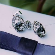 Серьги с серым кристаллом Сваровски «Фея»
