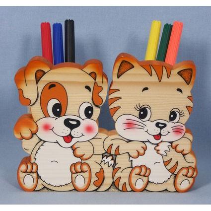 Подставка для карандашей «Котик со щенком»
