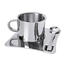 Чашка с термоизоляцией, с ложкой на подносе