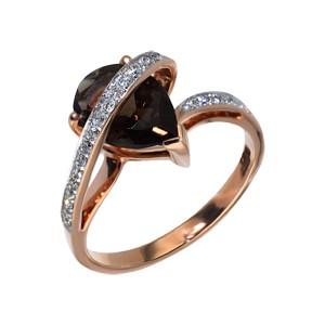 Кольцо из красного золота с бриллиантом и кварцем